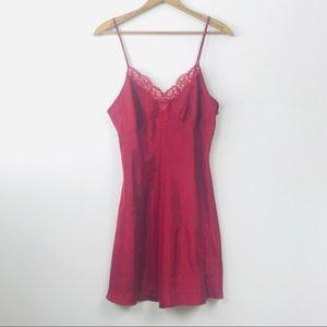 VTG burgundy red chemise slip lingerie Nightgown